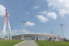 View of the Juventus stadium in Torino, Italy. Torino, Italy - July 19, 2015: View of the Juventus stadium and the home of Serie A club Juventus Football Club stock photos