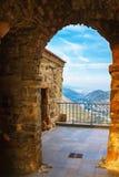 View from Jvari Monastery on Mtskheta mountains and river, Georgia Royalty Free Stock Image
