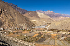 View on Kagbeni village located in the valley of the Kali Gandaki River Stock Image