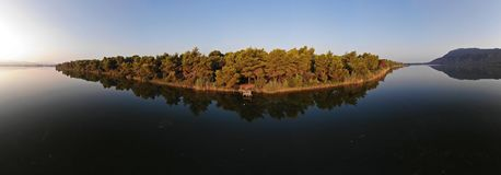 Panoramic view of Kaiafas lake at western Peloponnese. View of Kaiafas lake at western Peloponnese, Greece. Panoramic shot at the sunrise stock images