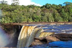 A view of the Kaieteur falls, Guyana. The waterfall is one of the most beautiful and majestic waterfalls in the world royalty free stock images