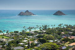 View of Kailua and the islands off the coast from the Lanikai Pillboxes Trail Royalty Free Stock Images