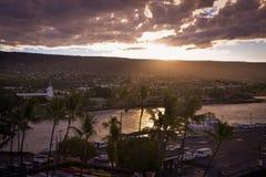 View of Kailua-Kona Bay from King Kamehameha Kona Beach Inn Royalty Free Stock Photo