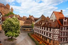View from Kaiserburg of Fachwerk houses, Nuremberg. Top view from beautiful Kaiserburg of Fachwerk houses in Nuremberg, Bavaria, Germany during summer Royalty Free Stock Photos