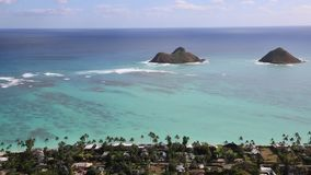 View from Kaiwa Ridge on Na Mokulua islets stock footage