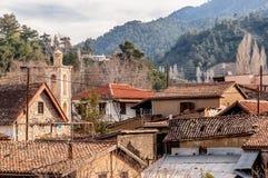 View of Kakopetria village at Troodos mountains. Nicosia District, Cyprus Royalty Free Stock Images