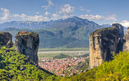 View of Kalabaka and Agia Triada Monastery, Greece Royalty Free Stock Photos