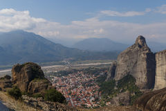 View on Kalabaka town from Meteora Stock Photos