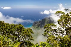 Kalalau Valley. View from the Kalalau Lookout in Kokee State Park into Kalalau Valley at the Na Pali coast on Kauai, Hawaii, USA Stock Images