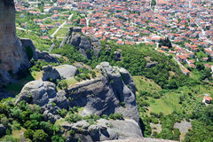 The view on Kalampaka town and Meteora Royalty Free Stock Images