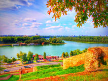 View from Kalemegdan fortress to confluence of Danube and Sava Stock Images