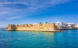 View of the Kales Venetian fortress at the entrance to the harbour, Ierapetra, Crete. stock photo