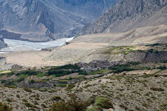 View on Kali-Gandaki valley in the Nepal Himalaya. Mustang district, Central Nepal royalty free stock photo