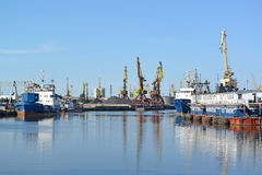 View of the Kaliningrad trade seaport in sunny day Stock Photo
