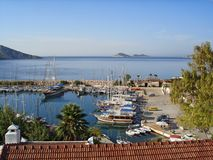 View of the Kalkan Marina with many yachts and boats royalty free stock photos