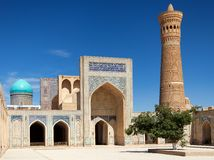 View of Kalon mosque and minaret - Bukhara Stock Images