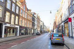 View of the Kalverstraat street in Amsterdam Royalty Free Stock Images