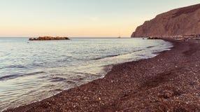 Kamari beach - Santorini Cyclades island - Aegean sea - Greece. View of Kamari beach - Santorini Cyclades island - Aegean sea - Greece stock photos