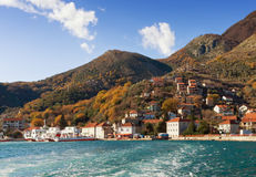 View of Kamenari town from the sea. Montenegro. Stock Image