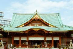View of the Kanda Myojin Shrine in Tokyo, Japan. Kanda Myojin is an historic Shinto shrine in the Kanda area of Tokyo, close to Ochanomizu Station and Akihabara royalty free stock photography
