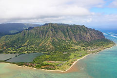 View at Kaneohe and Kualoa Ranch. Birds-eye view at Kaneohe- Oahu, Hawaii Royalty Free Stock Image