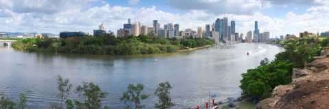 The view from Kangaroo Point in Brisbane City in Queensland. Stock Photo