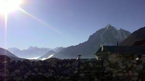 View of Kangtega Peak from Somare. stock video