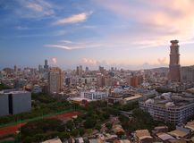 View of Kaohsiung City in Taiwan at Dusk Royalty Free Stock Photos