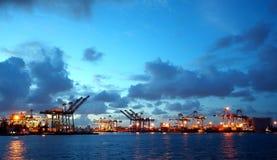 View of Kaohsiung Harbor at Dusk Royalty Free Stock Photos