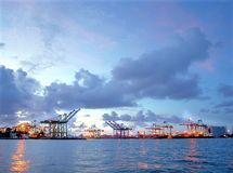 View of Kaohsiung Harbor after Sunset Stock Images