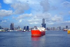 View of Kaohsiung Port with Large Oil Tanker Stock Photography