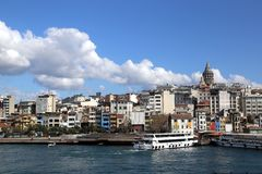 View of the Karaköy Pier from the Galata Bridge stock image