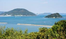 View of Karatsu bay in Karatsu city, Japan. View of Karatsu bay from Karatsu castle hill - Karatsu city, Saga prefecture, Japan stock image