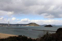The view of Karatsu city from the castle. It`s located by the se. A. Taken in February 2018 stock image