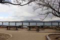 The view of Karatsu city from the castle. It`s located by the se. A. Taken in February 2018 royalty free stock photo