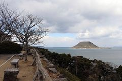 The view of Karatsu city from the castle. It`s located by the se. A. Taken in February 2018 royalty free stock photos