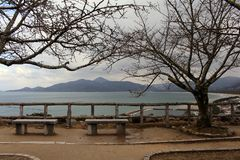 The view of Karatsu city from the castle. It`s located by the se. A. Taken in February 2018 stock photo