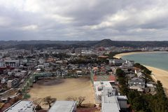 The view of Karatsu city from the castle. It`s located by the se. A. Taken in February 2018 stock photography