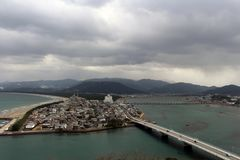 The view of Karatsu city from the castle. It`s located by the se. A. Taken in February 2018 stock images