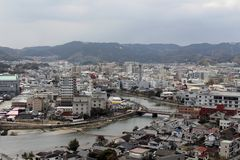 The view of Karatsu city from the castle. It`s located by the se. A. Taken in February 2018 stock photos