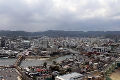 The view of Karatsu city from the castle. It`s located by the se. A. Taken in February 2018 royalty free stock images