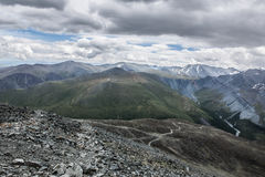 View from Karaturek mountain pass. On the way to Akkem river valley and Beluha mountain, Altai, Russia Royalty Free Stock Photo