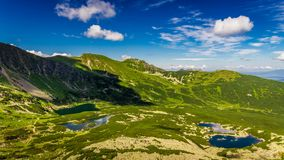 View from Karb to Kasprowy Wierch and Gasienicowa valley in summer, Tatra Mountains stock footage