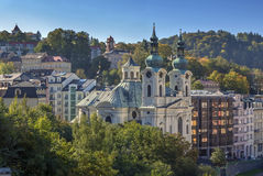 View of Karlovy Vary, Czech republic. View of Karlovy Vary with Church of St. Mary Magdalene, Czech republic stock photo