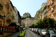 View of Karlovy Vary. Karlovy Vary is a popular tourist destination, especially known for international celebrities visiting for spa treatment. The city is also royalty free stock photography