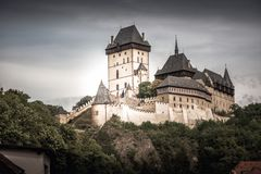 View of Karlstein Castle, a large Gothic castle founded in 1348 Stock Image