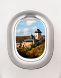 View of Karlstejn castle from airplane window Royalty Free Stock Photography