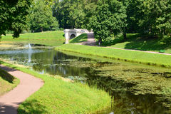 View of Karpin a pond and the bridge in Gatchina park Stock Images