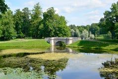 View of Karpin a pond and Karpin Bridge in Gatchina park Royalty Free Stock Photos