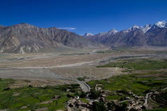 View from the Karsha Monastery. Looking down into the valley from atop the Karsha Monastery royalty free stock photo